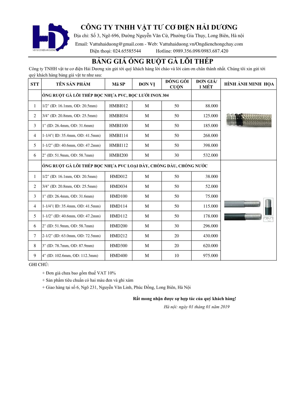 bảng giá ống ruột gà lõi thép inox 304